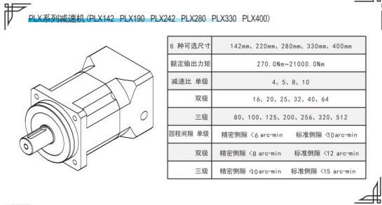 PLX190精密行星减速机参数